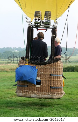 Hot air baloon and basket, ballooning flying - stock photo
