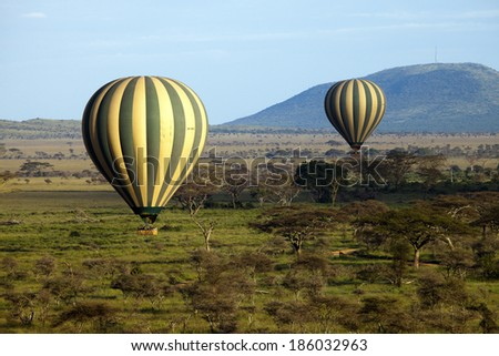 Hot Air Baloon Serengeti Africa - stock photo