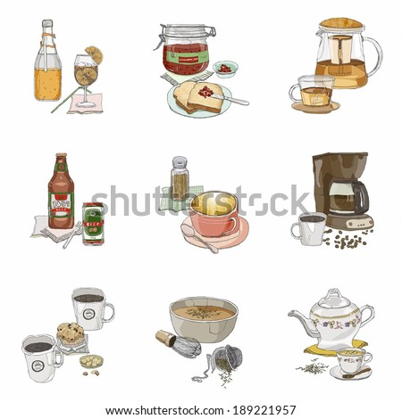 Hot and cold drink icons - stock photo