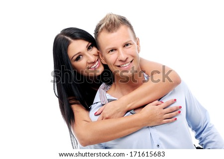 Hot and sexy couple having a photo session in studio - stock photo