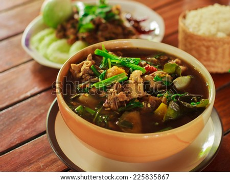 Hot and spicy , A savoury thick soup made from spices and vegetables,thai foods - stock photo