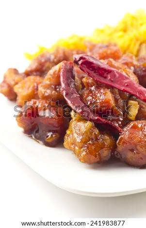 hot and spicy General Tso's Chicken chinese food takeout  - stock photo
