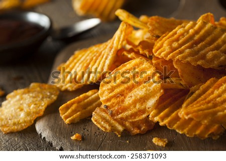 Hot Barbeque Potato Chips Ready to Eat - stock photo