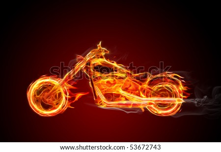 Hot burning bike with flames and smoke - stock photo
