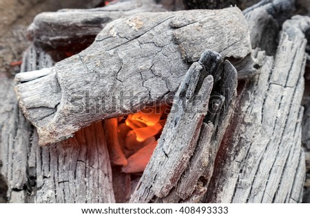 Hot burning charcoal for make cooking, soft focus - stock photo