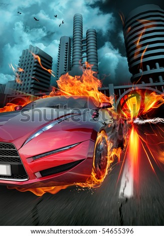 Hot car - stock photo