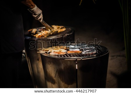 Hot Charcoal Barbecue Grill for wedding party. - stock photo