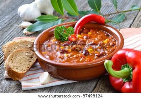 Hot chili con carne - stock photo