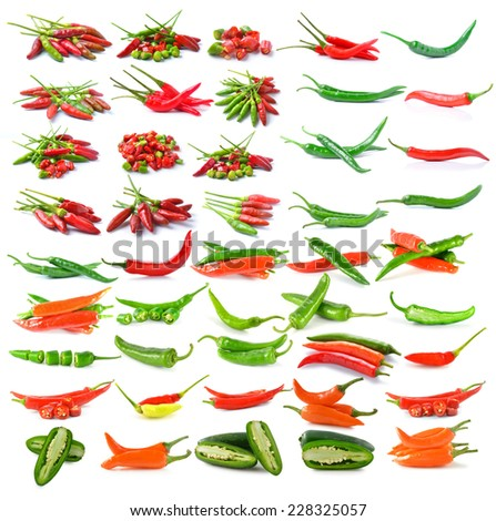 Hot chili peppers isolated on white background - stock photo