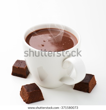 Hot chocolate and chocolate pieces  - stock photo