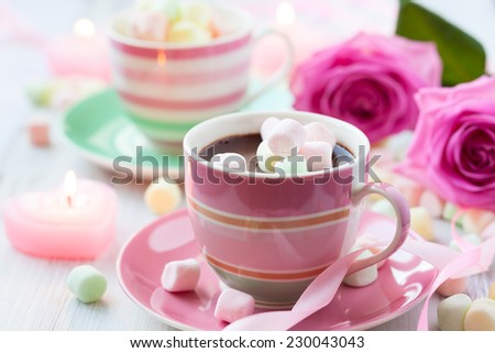 Hot chocolate and marshmallow in a cup for Valentines day - stock photo
