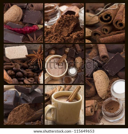 hot chocolate collage - stock photo