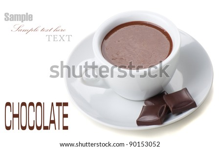 Hot Chocolate in white cups with Chocolate bar over white background - stock photo