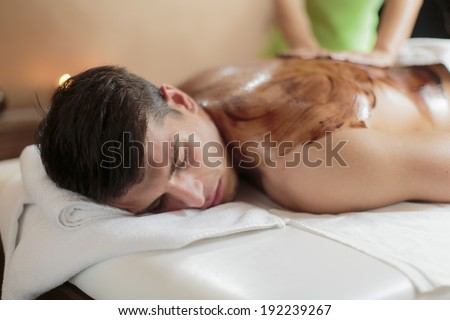 Hot chocolate massage - stock photo