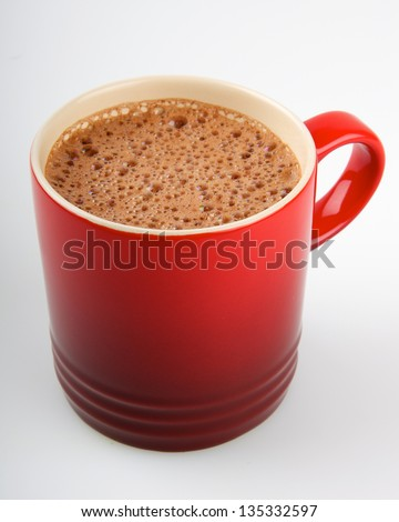 Hot Chocolate Mug with Bubbly Delicious Hot Chocolate - stock photo