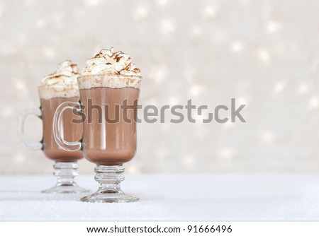 hot chocolate on winter background - stock photo