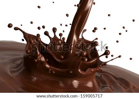 Hot chocolate splash close-up, isolated on white background. - stock photo