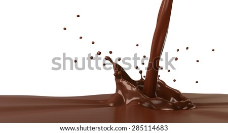 Hot chocolate splash with pouring, isolated on white. - stock photo