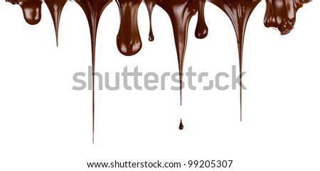 Hot chocolate streams dripping isolated on white - stock photo