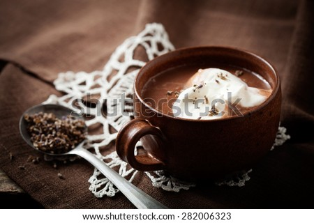 Hot chocolate with a hint of lavender - stock photo