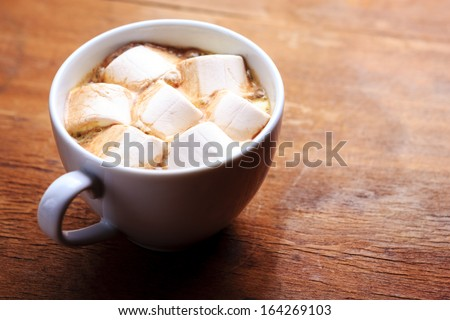 hot chocolate with marshmallow - stock photo
