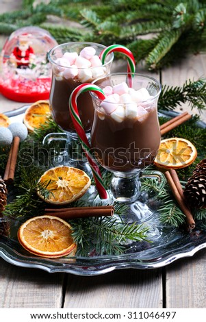 Hot chocolate with marshmallow and candy - stock photo