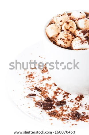 Hot chocolate with mini marshmallow  and cinnamon in a white cup on a plate - stock photo