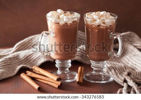 hot chocolate with mini marshmallows cinnamon winter drink - stock photo