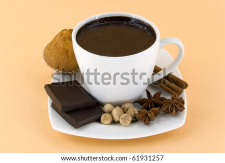hot chocolate with spice and cake - stock photo