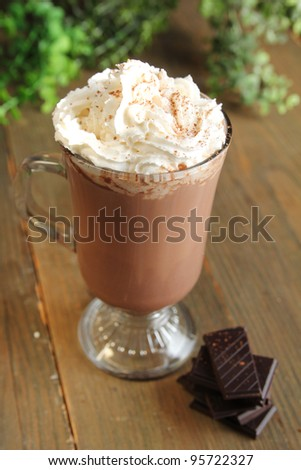 Hot chocolate with whipped cream and chocolate pieces - stock photo