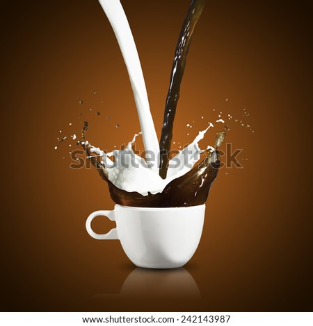 Hot Coffee and Milk Splash from Cup - stock photo