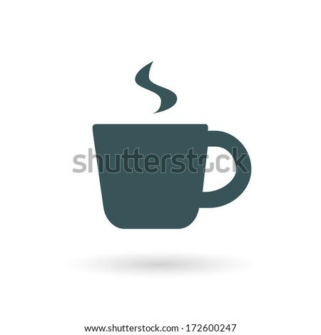 Hot coffee cup icon. Raster version. - stock photo