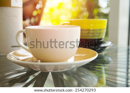 Hot Coffee cup in cafe. Vintage filter. - stock photo