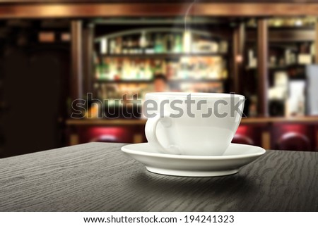 hot coffee in cafe  - stock photo