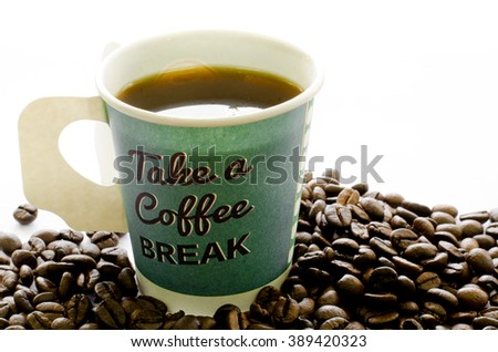 Hot coffee in paper cup, Coffee beans on white background, Coffee, Aroma, Caffeine, Coffee break, Coffee Wallpaper - stock photo