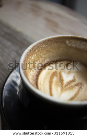 hot coffee latte - stock photo