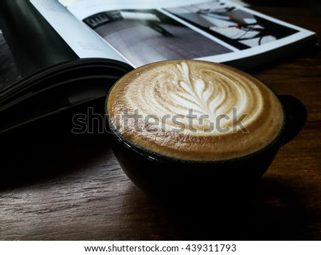 hot coffee, Latte Art, Cafe Latte, Hot Capuccino, a cup of coffee on the table - stock photo