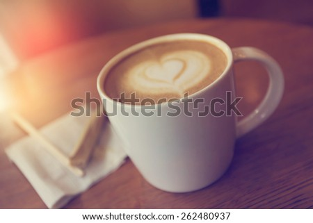 Hot coffee latte made with Vintage Tones,Warm tones - stock photo