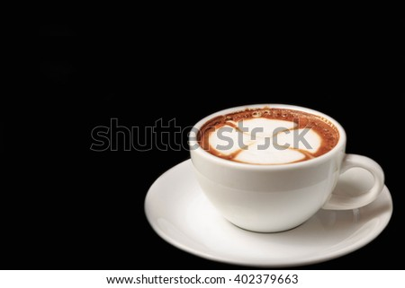 Hot coffee on black background. - stock photo
