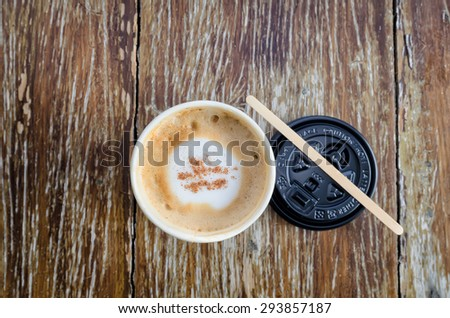 Hot coffee on wood background - stock photo