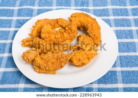Hot, crispy chicken strips on a white plate - stock photo