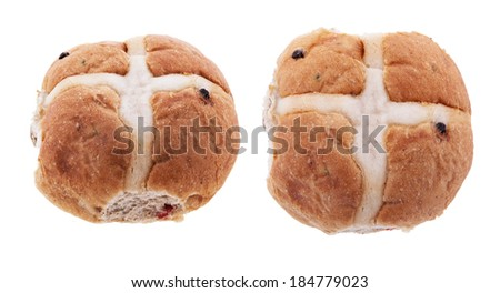 Hot cross bun isolated on a white background.  Showing two different angles.  - stock photo