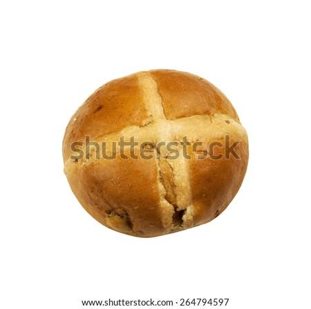 Hot cross bun on a white background - stock photo