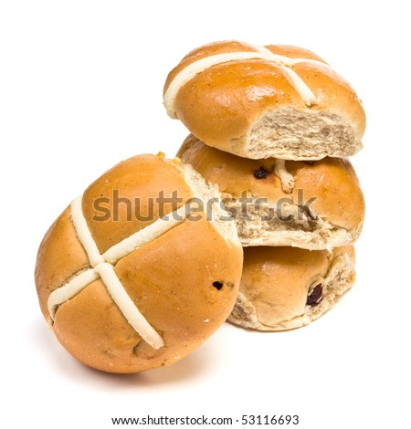 Hot Cross buns isolated against white background in studio. - stock photo