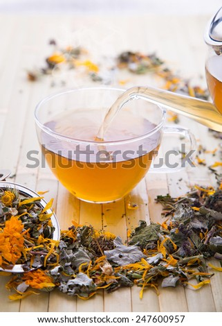 Hot cup of herbal tea - stock photo