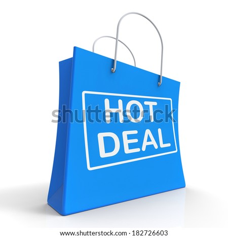 Hot Deal On Shopping Bags Showing Bargains Sale And Save - stock photo