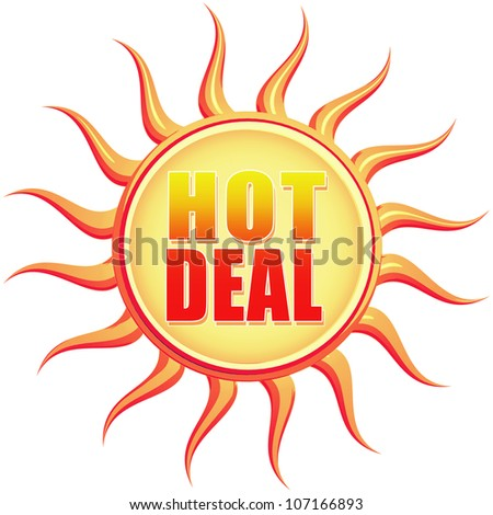 Hot deal retro style illustration of sun with text - stock photo