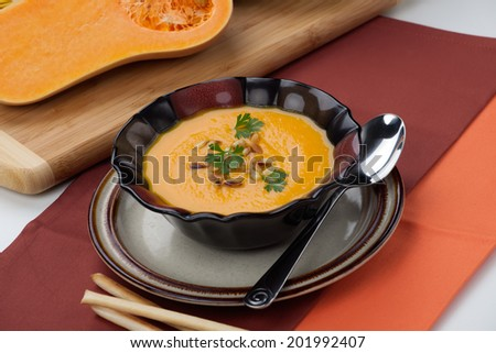 Hot delicious pumpkin soup in a bowl. Made from butternut squash. Garnished with roasted pine nuts, and fresh parsley.  - stock photo