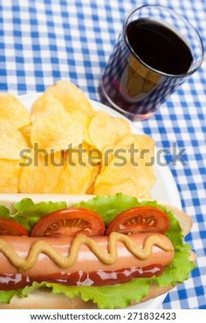 Hot Dog. Closeup Hotdog & Chips - stock photo