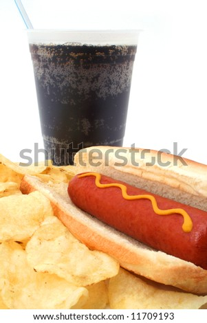 Hot Dog Combo with soda and potato chips - stock photo